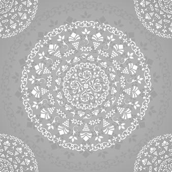 Szara ozdobna mandala bez szwu