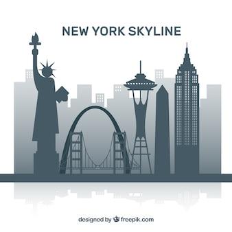 Szara skyline w nowym jorku