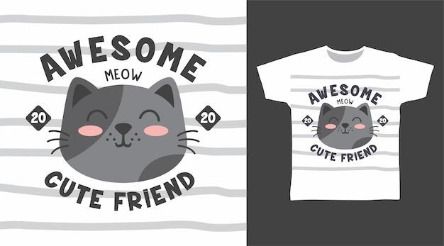 Szara twarz kota z paskiem na projekt koszulki