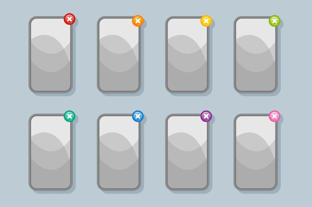 Szare banery menu gier na telefony komórkowe i gry komputerowe z przyciskami zamykania (wyjścia) w różnych kolorach do projektowania interfejsu użytkownika.