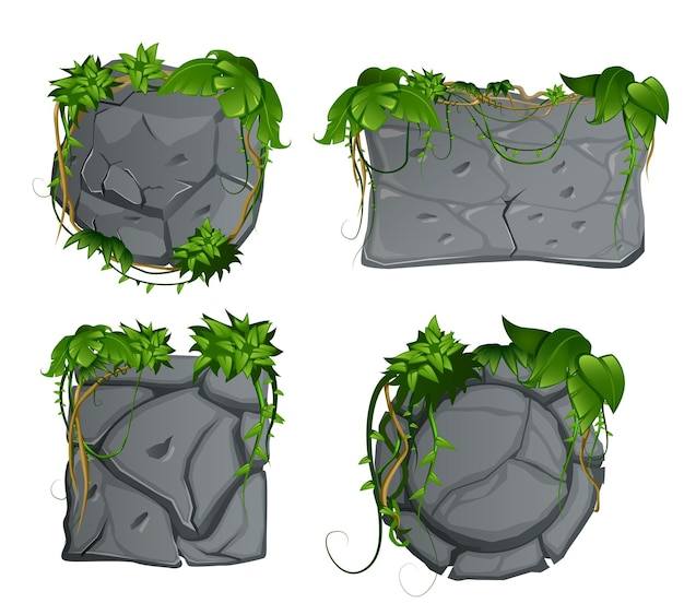 Szare kamienne ozdobne elementy ogrodowe z tropikalnym lasem deszczowym liana pozostawia zestaw znaków kreskówek