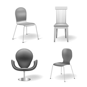 Szare krzesła ustawione na białym tle