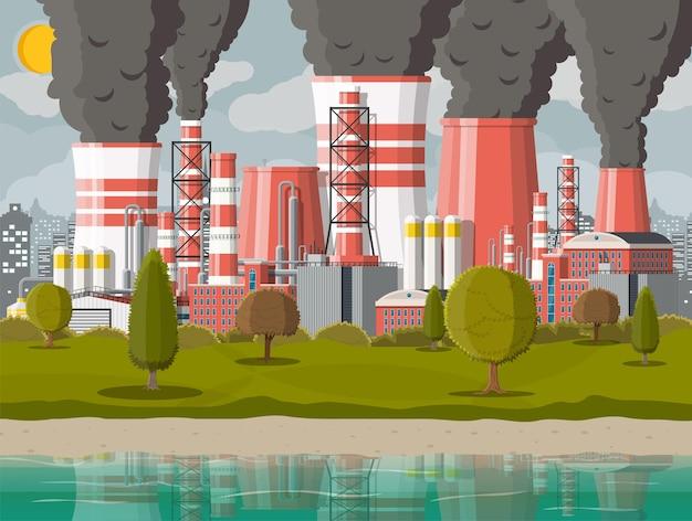 Szare niebo zanieczyszczone drzewa trawa