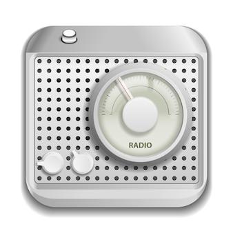 Szare radio na białym tle