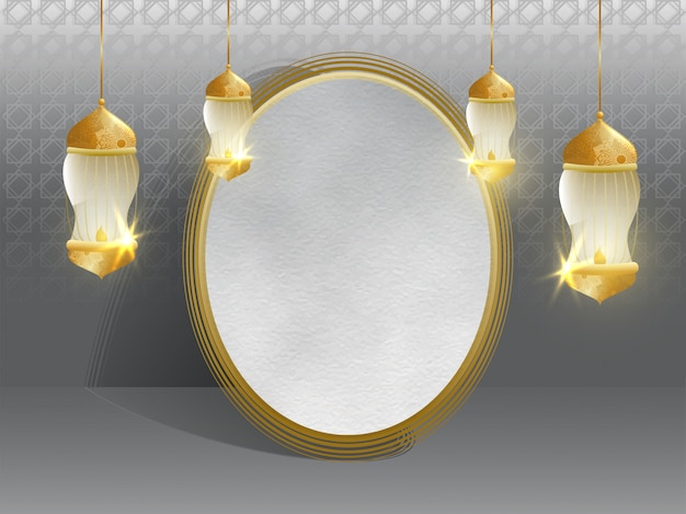 Szare tło islamskie ozdobione wiszącą iluminacją