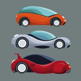 Szare tło kolorowych zestawów futurystyczne pojazdy samochodowe