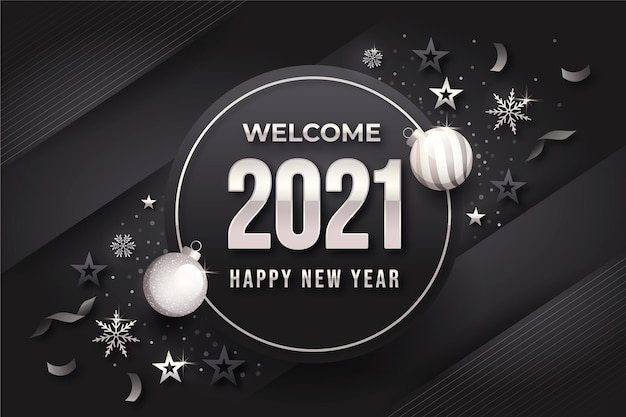 Szare tło nowego roku ze srebrnymi elementami