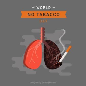 Szare tło płuc z papierosem