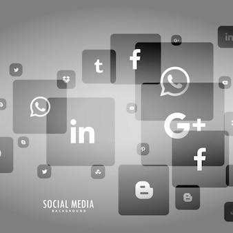 Szare tło social media logo