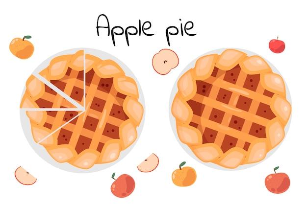 Szarlotka w całości i w plasterkach. wokół są całe i pokrojone jabłka. ilustracja na białym tle. widok z góry.