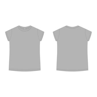 Szary bawełniany t-shirt pusty szablon. t-shirt dziecięcy szkic techniczny na białym tle.