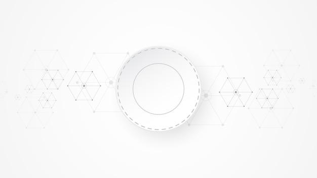 Szary biały abstrakcyjne tło technologii z różnymi elementami technologii hi-tech koncepcja komunikacji innowacja tło okrąg puste miejsce na tekst