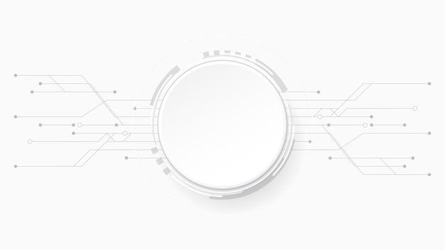 Szary biały streszczenie technologia tło, koło puste miejsce na tekst
