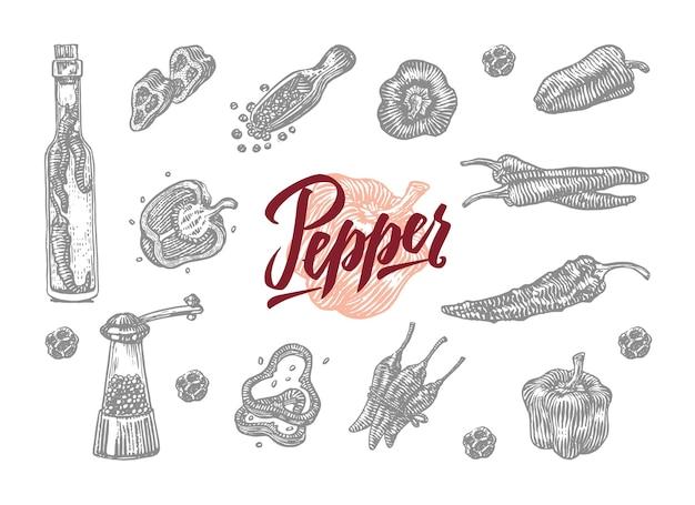 Szary grawerowany dzwonek i papryczka chili w różnych kształtach i adaptacjach
