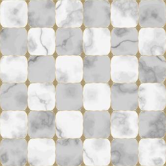 Szary i biały marmurowy wzór z abstrakcyjnym elementem geometrycznym powtórz tło szachownicy