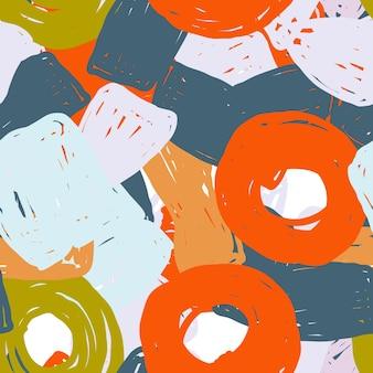 Szary i pomarańczowy kreskówka wektor wzór. beżowy i różowy modny plakat pędzel. kolor współczesny design. kubizm formularz tło.