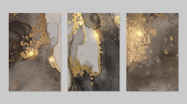 Szary i złoty marmur abstrakcyjne tekstury