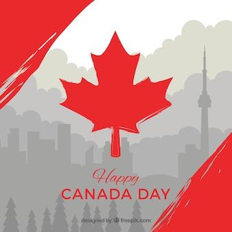 Szary kanada dzień tła z czerwonym szczegółów