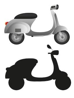 Szary motocykl i sylwetka motocykl na białym tle