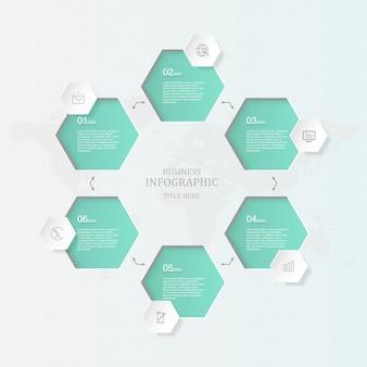 Szary motyw i 6 infografiki procesu.