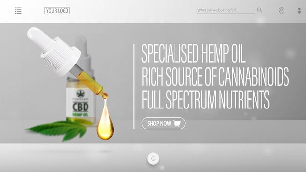 Szary nagłówek strony internetowej z rozmytą butelką oleju cbd, pipetą na pierwszym planie i elementami interfejsu strony internetowej
