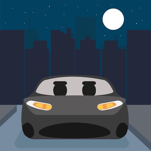 Szary nowoczesny samochód w mieście