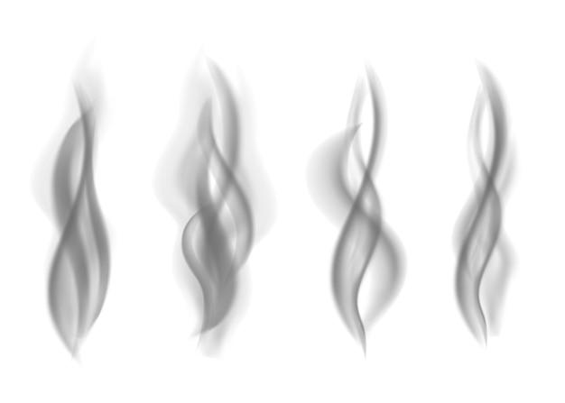 Szary ogień dym na białym tle. ciemna para. realistyczna tekstura wektor smogu.
