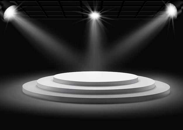 Szary okrągły podium z reflektorami