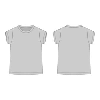 Szary t-shirt na białym tle. przód i tył szkic techniczny ubrania dla dzieci.