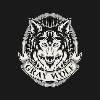 Szary wilk klasyczny szablon logo vintage