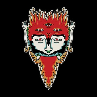 Szatan twarz ogień vintage tatuaż retro