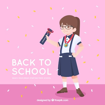 Szczęśliwa dziewczyna z powrotem szkoły tło