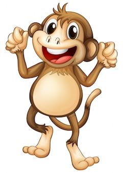 Szczęśliwa małpka tańczy samotnie