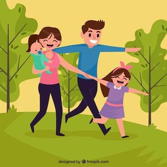 Szczęśliwa rodzina w parku z płaskim projektem