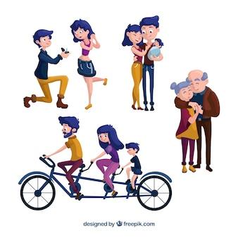 Szczęśliwa rodzina w różnych etapach życia z płaskiej konstrukcji
