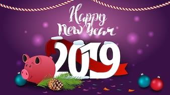 Szczęśliwego nowego roku 2019 - fioletowy nowy rok kartkę z życzeniami z piggy bank