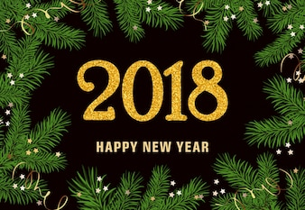 Szczęśliwego nowego roku napis w ramie jodła