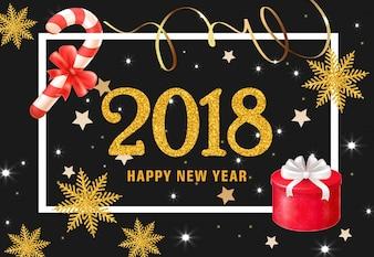 Szczęśliwego nowego roku napis z teraźniejszości i słodycze