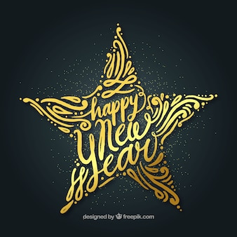 Szczęśliwego nowego roku tło z dużą złotą gwiazdą