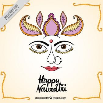 Szczęśliwego tła navratri z twarzą bogini Durga