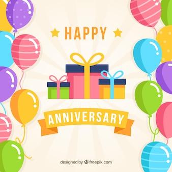 Szczęśliwej rocznicy tło z balonów i prezentów pudełkiem