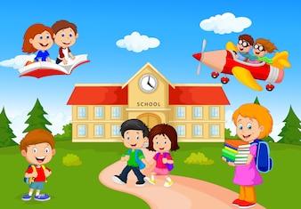Szczęśliwi kreskówek szkolni dzieci