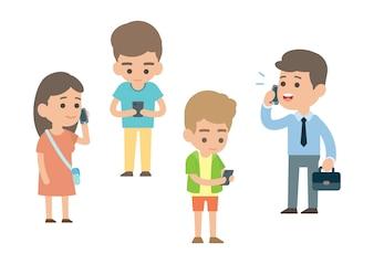 Szczęśliwi ludzie używają smartphone