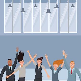 Szczęśliwi wykonawczy biznesowi pracownicy