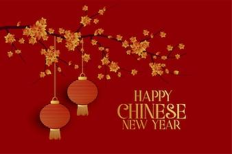 Szczęśliwy chiński nowy rok czerwieni tło