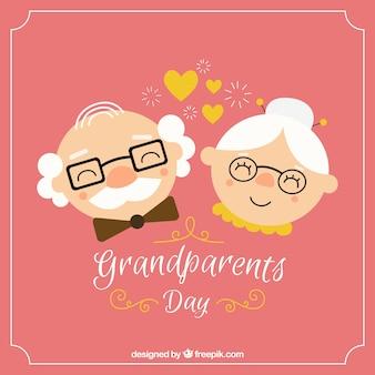 Szczęśliwy dziadek w tle