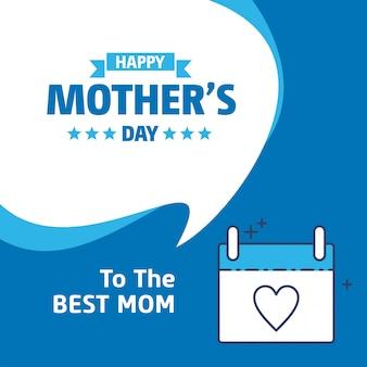 Szczęśliwy dzień matki napis niebieskie tło