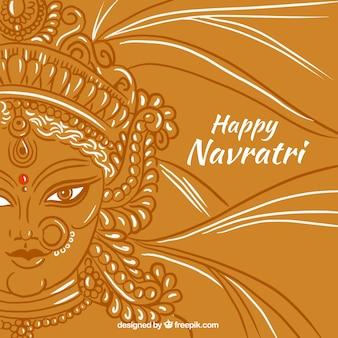 Szczęśliwy navratri tło z twarzy za Durga