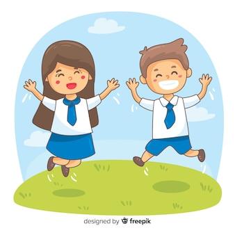 Szczęśliwy tło studentów
