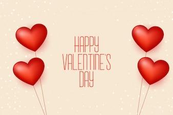 Szczęśliwy valentines dnia balonów serc tło